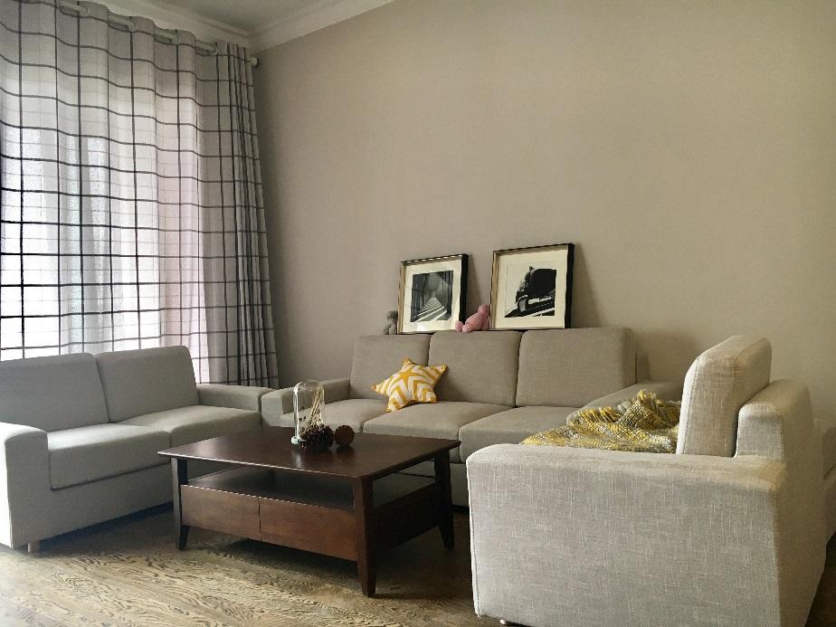 客厅采用组合式沙发,局部同色系搭配。彰显出的是主人喜好简单,素雅的风格。