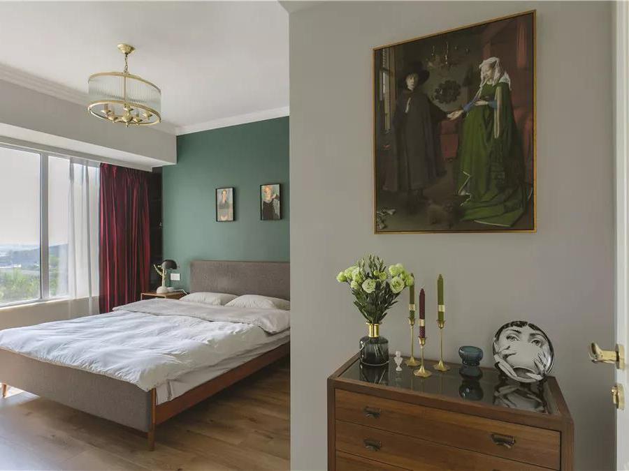 家好岁月长丨绿植+雕塑+油画的115㎡复古北欧风小两居