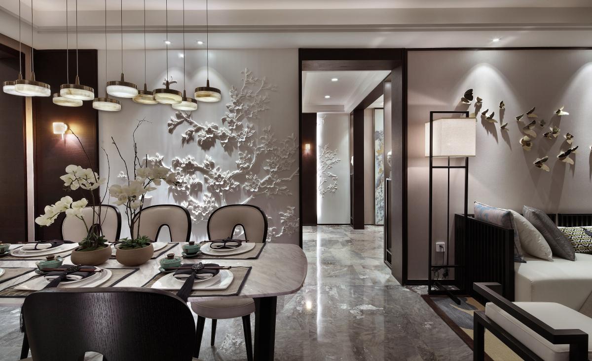 国学家的165㎡新中式,绝美背景墙+茶香露台,唯美又纯净